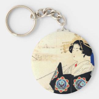 Mizuno Toshikata 水野年方, Courtisane - Aziatisch Art. Sleutelhanger