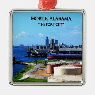 MOBIEL, ALABAMA - de Stad van de Haven Zilverkleurig Vierkant Ornament