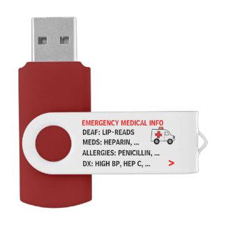 Mobiele Medische (Gepersonaliseerde) Info van de USB Stick