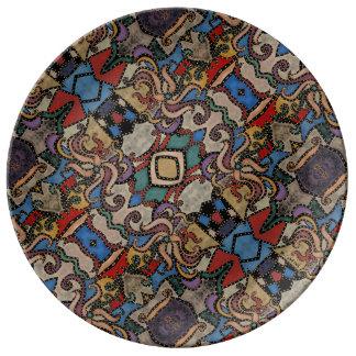 Modern Abstract BloemenPatroon Porselein Bord