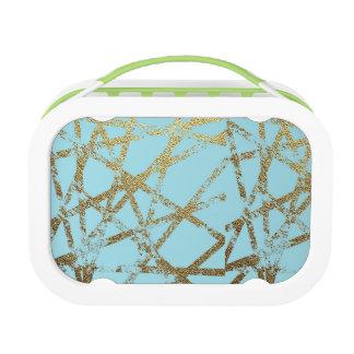 Modern, abstract, geschilderde hand, gouden lunchbox
