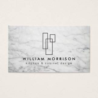 Modern Architecturaal Logo op Wit Marmer Visitekaartjes