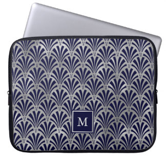 Modern Art deco | Marine en Zilveren Monogram Faux Laptop Sleeve