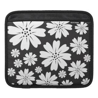 Modern Bloemen Zwart-wit Patroon iPad Sleeves