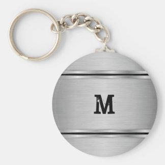 Modern Eenvoudig Zilveren Grijs MetaalOntwerp Sleutelhanger