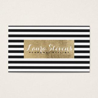 Modern elegant eenvoudig zwart strepen faux visitekaartjes