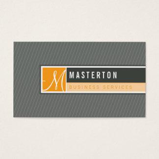 Modern geblokkeerd het monogram oranje grijs van visitekaartjes