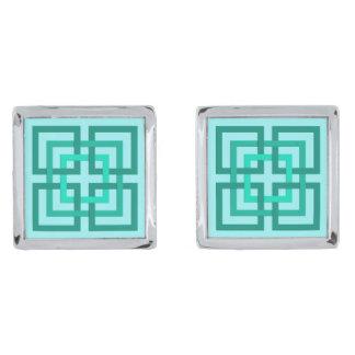 Modern Geometrisch Vierkanten, Aqua en Turkoois Verzilverde Manchetknopen