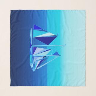 Modern Geometrisch Zeilboot/Jacht, het Blauw van Sjaal