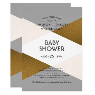 Modern Grijs & Gouden Geometrisch Baby shower Kaart
