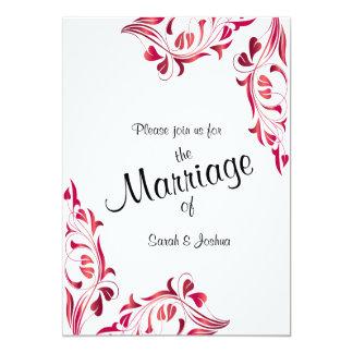 Modern Huwelijk | Donkerrood Ontwerp 12,7x17,8 Uitnodiging Kaart