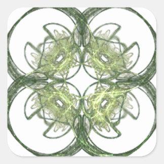 Modern kijk Fractal van de Klaver van Vier Blad Vierkante Stickers