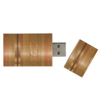 Modern Koper Met monogram en Gouden Strepen Houten USB 3.0 Stick