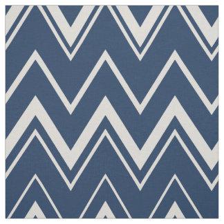 Modern marineblauw en wit chevronpatroon stof