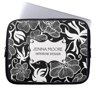 Modern Modieus Zwart-wit BloemenPatroon Laptop Sleeve