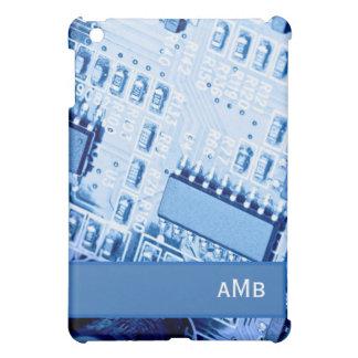 Modern Motherboard Patroon in Blauwe Kleuren iPad Mini Cases