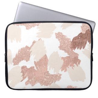 Modern nam gouden faux schitteren penseelstreken laptop sleeve hoesjes