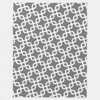 Modern Patroon met Grijs en Wit Fleece Deken