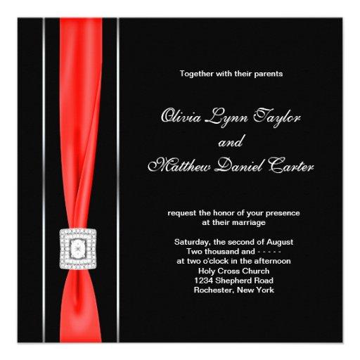Modern rood zwart huwelijk vierkante