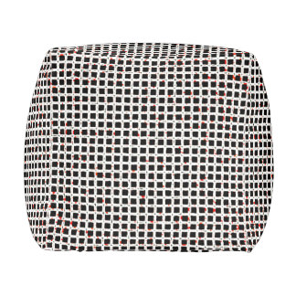 Modern Trendy Zwart Wit Rood Abstract Patroon Poef