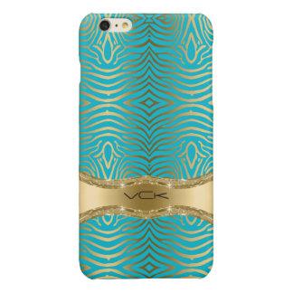 Modern Turkoois & het Gouden Gestreepte Patroon Glossy iPhone 6 Plus Hoesje