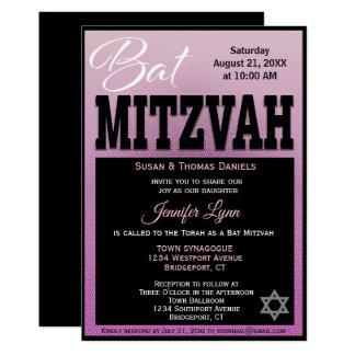 Modern van Mitzvah van de knuppel Roze en Zwarte Kaart