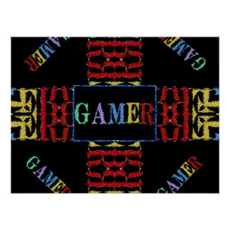 Modern VideoMozaïek Gamer Poster