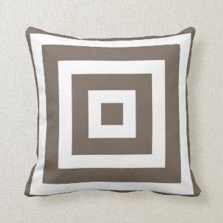 Modern Vierkant Patroon in Taupe en Wit Sierkussen