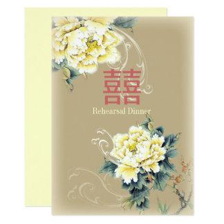 modern vintage pioen bloemen Chinees Huwelijk Kaart