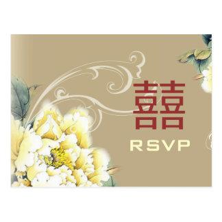 modern vintage pioen bloemen Chinees Huwelijk RSVP Briefkaart
