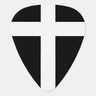 modern wit kruis op zwarte plectrum