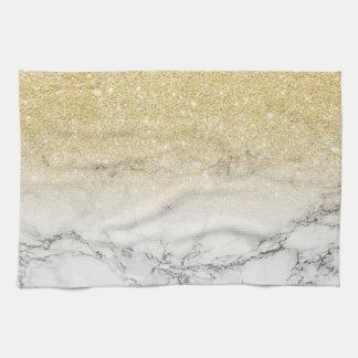 Modern wit marmeren de kleurenblok van faux gouden theedoek