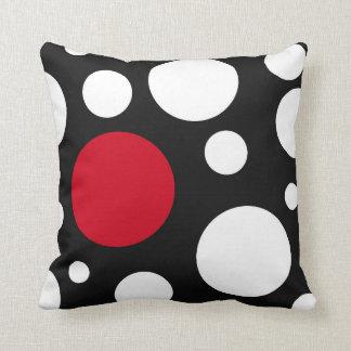 modern zwarte, wit & rood met cirkels sierkussen