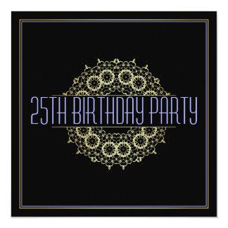 Moderne 25ste Partij van de Verjaardag | Gewaagde 13,3x13,3 Vierkante Uitnodiging Kaart