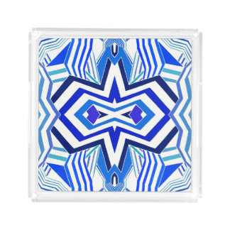 Moderne Blauwe Geometrisch Acryl Dienblad