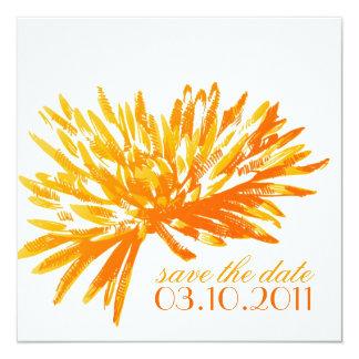 Moderne Bloemen sparen de Kaarten van de Datum 13,3x13,3 Vierkante Uitnodiging Kaart