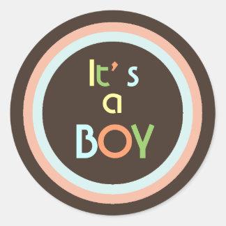 Moderne de geboorteaankondiging van de kleuren ronde sticker