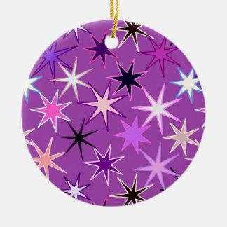 Moderne Druk Starburst, Violette Paars en Orchidee Rond Keramisch Ornament