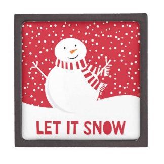 moderne eigentijdse rode en witte sneeuwman premium decoratiedoosje