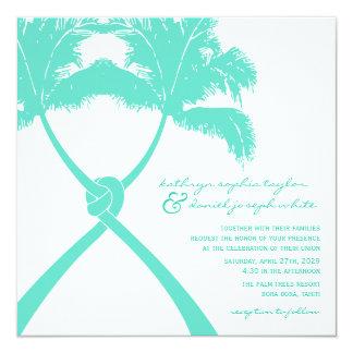 Moderne Elegant van het Huwelijk van het Strand 13,3x13,3 Vierkante Uitnodiging Kaart