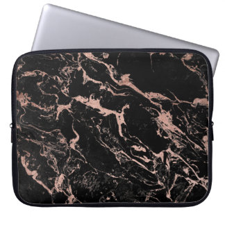 Moderne elegante faux nam gouden folie zwart laptop sleeves