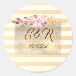 Moderne Elegante Gestreepte Bloemen Ronde Sticker