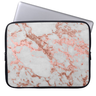 Moderne faux nam goud schittert marmeren laptop sleeve