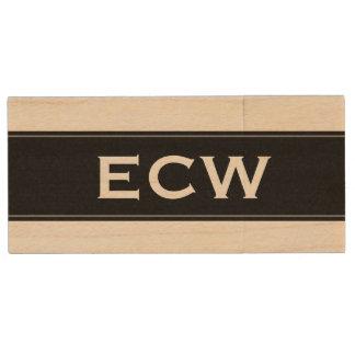 * Moderne Geëtiketteerde Zwarte Met monogram Houten USB Stick
