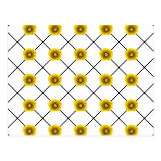 Moderne Gele Bloemen op Plaid Briefkaart