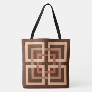Moderne Geometrische Vierkanten, Chocoladebruin en Draagtas