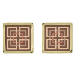 Moderne Geometrische Vierkanten, Chocoladebruin en Vergulde Manchetknopen
