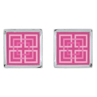 Moderne Geometrische Vierkanten, Fuchsiakleurig en Verzilverde Manchetknopen