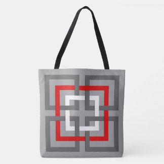 Moderne Geometrische Vierkanten, Grijs, Rood en Draagtas