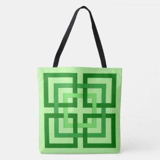 Moderne Geometrische Vierkanten, Groen en Draagtas